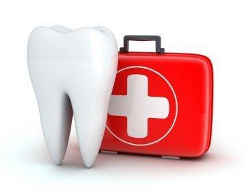 illustrated tooth next to red emergency dental kit